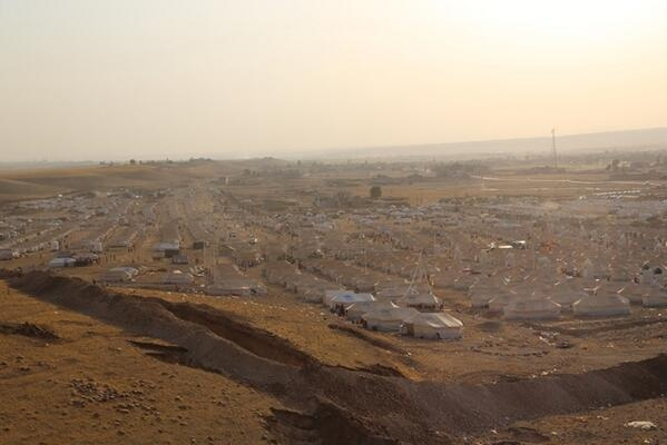 Kawrgosk camp from 2013, during one of the largest mass arrivals of refugees at that time. These tents went up in a matter of days. Photograph by Abeer Etefa