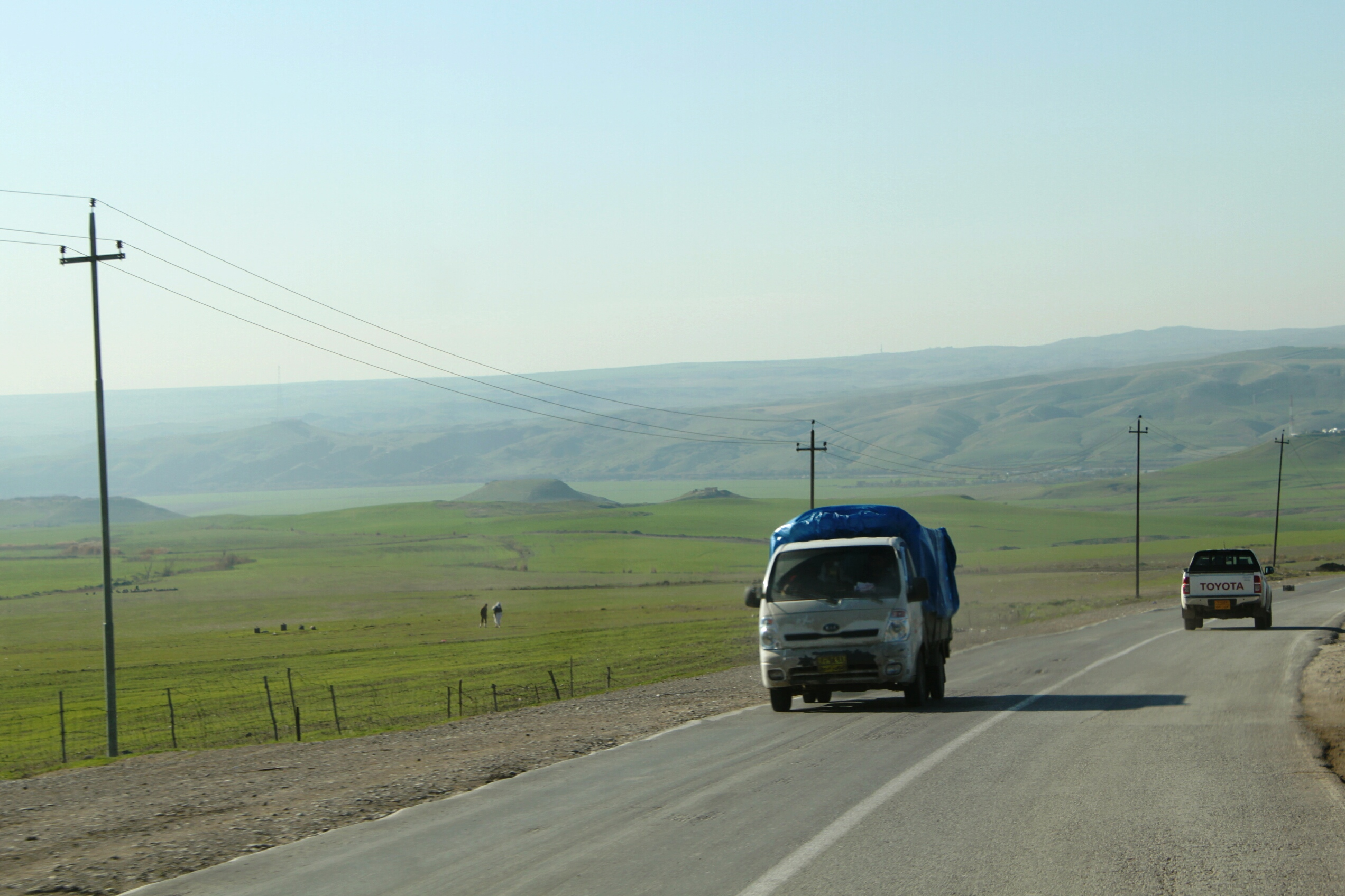 Driving along the beautiful Syrian border on the Iraq side.